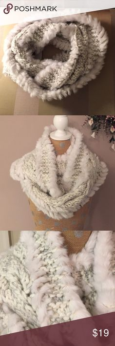LOFT✨Knit Faux Fur Scarf Soft white and gray infinity scarf. New condition. LOFT Accessories Scarves & Wraps