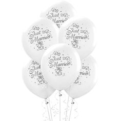 Excitement is in the air with our Just Married Wedding Balloons! Just Married Wedding Balloons feature white balloons that read 'Just Married. Wedding After Party, Diy Wedding, Wedding Reception, Wedding Ideas, Wedding Stuff, Wedding Car, Wedding Favors, Wedding Photos, Wedding Planning