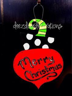 Christmas door hanger Christmas by DeezDoorDecorations on Etsy