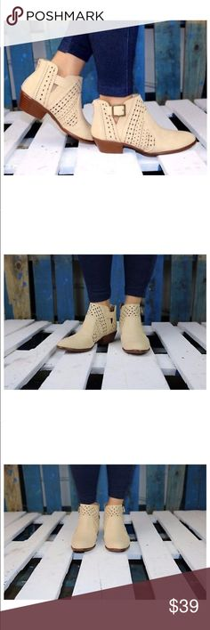 """Perforation Buckled Whipstitch Split Shaft Booties Perforation Buckled Whipstitch Split Shaft Booties. Stone 1.5-2"""" heel Shoes Ankle Boots & Booties"""