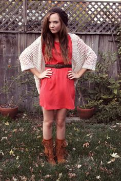 Discover this look wearing Red Riffraff Dresses, Brown Fringe Moccasin Minnetonka Boots - Red Dress by katiedidwhat styled for Bohemian, Brunch in the Fall Minnetonka Boots, Moccasin Boots, Moccasins, Autumn Winter Fashion, Winter Style, Fall Fashion, Sweater Fashion, Mom Style, Cute Outfits