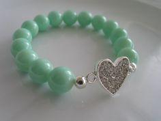Silver tone clear bejeweled heart charm elastic by LeeliaDesigns, $10.00