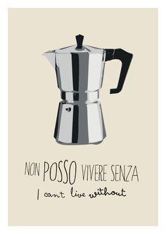 Coffee print illustration italian print italian by ShufflePrints Italian Phrases, Italian Words, Italian Quotes, Coffee Poster, Coffee Art, Moka, Bar Kunst, Art Café, I Love Coffe