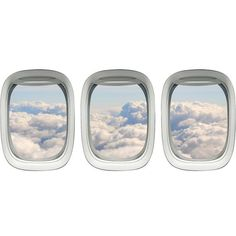 Winston Porter Airplane Window Peel and Stick Aerial Cloud View 3 Piece Wall Decal Set