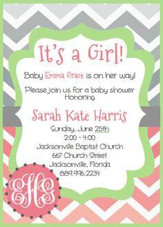 Monogram Baby Shower invitation chevron PDF…cute site for printable invites of all kinds