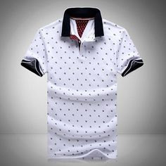 2016 New Brands Mens Printed POLO Shirts Brands Cotton Short Sleeve Camisas Polo Stand Collar Male Polo Shirt - - Houzz of Threadz Polo Shirt Brands, Polo T Shirts, Collar Shirts, Mens Printed Shirts, Polo Outfit, England Fashion, Cotton Shorts, Swagg, Fashion Clothes
