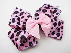 Pink Leopard Pattern Hair Bow  Girls Hair by MissLottiesBoutique