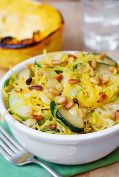 Zucchini & Spaghetti Squash with pine nuts change parmesan for nutritional yeast
