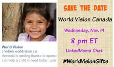 Save the date - this year we are talking about gifts with heart #worldvisiongifts November 19. 8 p.m. EST.