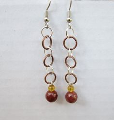 Yellow Jade Copper Quartz Dangle Earrings for by GypsyDreamerCafe, $10.50