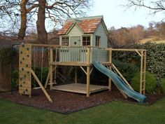 Childern Garden Playhouse With Slide And Swings : Outdoor Garden Playhouse For Kids #gardenplayhouse