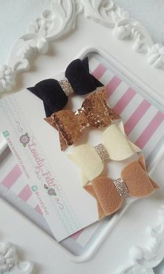 Felt Bow Hair Clips Set Handmade  Navy Blue Camel by LovelyFelt72