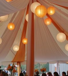 I really like how the fabric and lights soften the tent, and make it more intimate even though it is such a large open area.