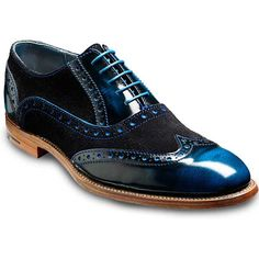 Barker Shoes - Grant Brogues - Blue Hi-Shine & Suede