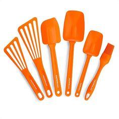 Bring some sun to your kitchen with this bright orange 6-piece kitchen utensil set!