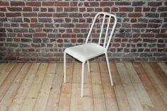 Retro metal chair  model VIEUX LILLE  Color cream by MyBistroTable