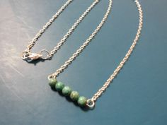 Green turquoise beaded bar shiny silver by JenisJewelryandMore, $25.00 Donating Jewelry for the FFCS raffle - not sure which piece yet though;) https://www.etsy.com/shop/JenisJewelryandMore