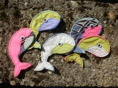 magnetic whales made of recycled fabric