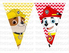 Paw Patrol Birthday Banner Includes Six by ThisWiddlePiggy on Etsy
