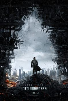 """Teaser poster for Star Trek Into Darkness. When I first saw this I was like, """"Surely not. Benedict Cumberbatch can Not be in Batman. I don't even LIKE Batman. Oh, It's star Trek. I can handle that."""" But his character doesn't have a name, apparently. It's just """"The Villain"""". That's interesting as he is FEATURED ON THE TEASER POSTER ALONE. Yeah."""