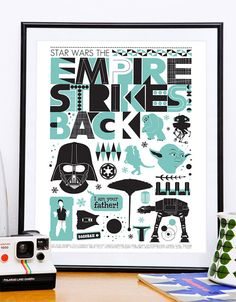 Star Wars Poster print  Empire Strikes back movie poster by handz, $19.00