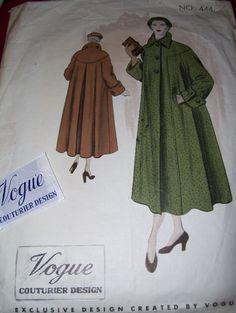 1948 VOGUE COUTURIER DESIGN #444 - LADIES STUNNING SWING COAT PATTERN w/LABEL 16 #VOGUE