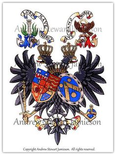 Hand painted Coats of Arms painted by British heraldic artist Andrew Stewart Jamieson. Working to commission and considered to be one of the worlds leading heraldic artists his studio was established in 1983. (heraldry, coats of arms, heraldic artists, armorials, achievement of arms, crests) To commission heraldic paintings contact: enquiries@jamiesonstudios.com