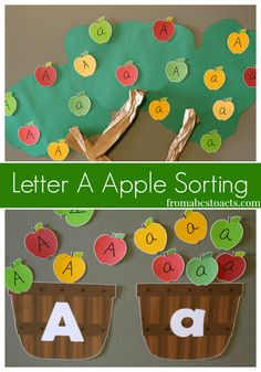 Can't visit an apple orchard?  Make your own and sort some upper and lowercase letter A apples with your preschooler into these fun printable letter A baskets! - From ABCs to ACTs