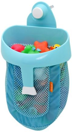The Brica Super Scoop is a fun way to collect and store children's bath toys. A Push-Lock suction cup securely mounts the fish-themed scoop hanger to tile or fiberglass tub/shower surrounds.