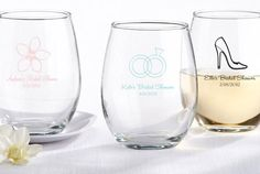 These customized wine glasses are not only great wedding favors but they would make a fabulous bridal shower gift as well!