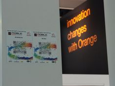 QR+ and NFC tags on mobiLead's stand on the French Pavilion in front of Orange at Mobile World Congress 2013
