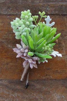 Faux succulent boutonniere by Cincinnati wedding florist, Floral Verde LLC.