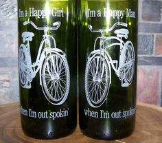 Custom etched Recycled bicycle glasses/set of 2 by woodnheart, $28.00