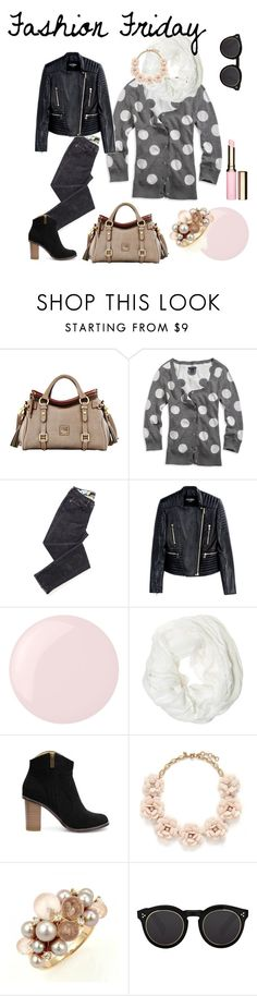 """""""Fashion Friday"""" by deliciousperspective on Polyvore featuring Dooney & Bourke, American Eagle Outfitters, Balmain, Essie, Betsey Johnson, J.Crew, Mimí, Illesteva and Clarins"""