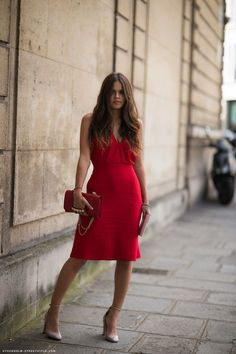 Red dress + nude shoes