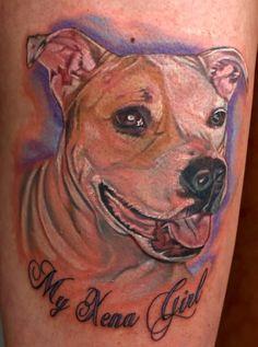 Fabulous Colored Dog Portrait Tattoo
