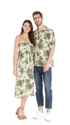 Couple Outfit festival Couple Matching Hawaiian Luau Cruise Party Outfit Shirt Dress in Leaf Green Couple Matching Hawaiian Luau Cruise Party Outfit Shirt Dress in Leaf Green Luau Outfits, Outfits Fiesta, Hawaii Outfits, Themed Outfits, Outfits For Teens, Hawaiin Party Outfit, Tropical Party Outfit, Luau Dress, Hawaii Dress
