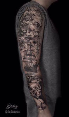 35 Tatuagens de braço fechado masculinas para se inspirar - Fotos e Tatuagens God Tattoos, Tattoos For Guys, Tatoos, Tattoo Design Drawings, Tattoo Designs Men, Tattoo Deus, Day Of Dead Tattoo, Poseidon Tattoo, Goddess Of The Sea