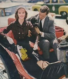 A carriage, cute pup, and dapper chap, sounds like any lady's dream day out. :) #vintage #fashion #1950s