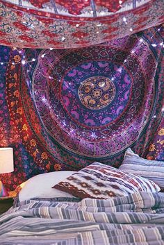 Hippie tapisserie indienne mandala jet de lit tenture for Chambre indienne decoration