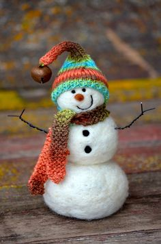 Snowman - Wool Needle Felted Snowmen - winter decor - 199