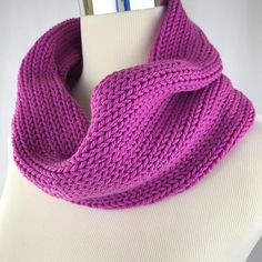 Cowl // neckwarmer // pink //  handknit // double thick // neckwarmer // thick cowl // pink cowl // solid pink cowl // acrylic cowl // pinky by OrangeSmoothieKnits on Etsy