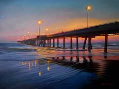 """""""A Pier to Night""""   #SantaMonica beach #sunset- #painting oil on canvas 36 x 48 in"""