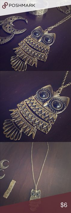 """Long Bronze Owl Pendant Necklace Icing bronze long owl pendant necklace. Owl pendant measuring about 3"""" and 16"""" necklace with lobster clasp. In great condition. Feel free to make an offer! Jewelry Necklaces"""