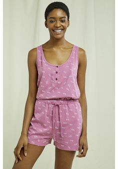 Lightweight, organic and breathable nightwear shorts. This comfortable pyjama collection is printed with an intricate ZZZ design and made from the softest 100% GOTS certified organic cotton in violet shade –perfect for lounging or sleeping. Made by People Tree Fair Trade producer partner Assisi. Pajama Shorts, Pyjamas, Fair Trade, Nightwear, Organic Cotton, Rompers, Shopping, Collection, Printed
