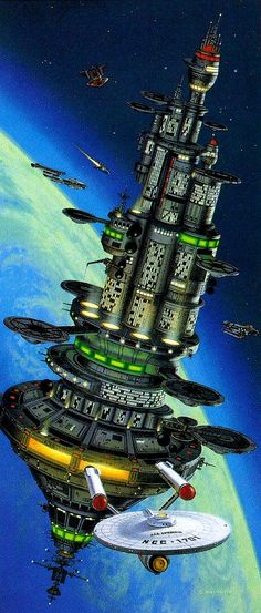 Enterprise leaving a space station.  #StarTrek  #spacestation  #enterprise