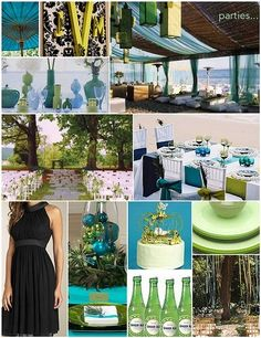Outdoor Wedding summer Colors | Summer Wedding Colors: this is a blue/green/turquoise combo with white