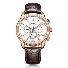 #rotarywatches #monaco Sport Watches, Watches For Men, Rotary Watches, Watch Brands, Stainless Steel Case, Rose Gold Plates, Chronograph, Brown Leather, Quartz