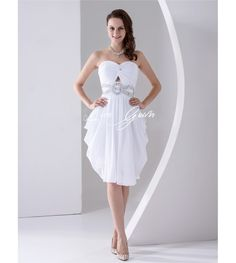 White Strapless A-line Beading Satin Chiffon Homecoming Dress $128.79