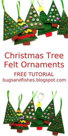 some colourful felt Christmas tree ornaments with this beginner-friendly fre. -Sew some colourful felt Christmas tree ornaments with this beginner-friendly fre. Sewn Christmas Ornaments, Handmade Christmas Decorations, Diy Christmas Ornaments, Kids Christmas, Christmas Crafts, Simple Christmas, Felt Christmas Trees, Reindeer Christmas, Beaded Ornaments